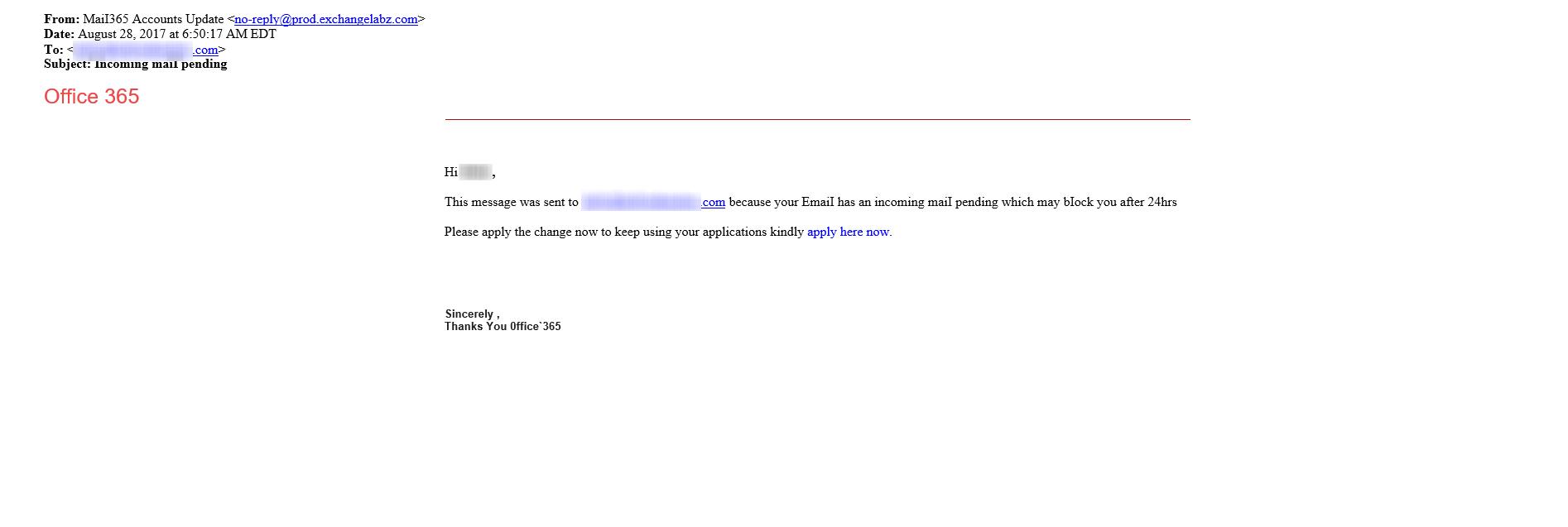 Office 365 Phishing Attempt