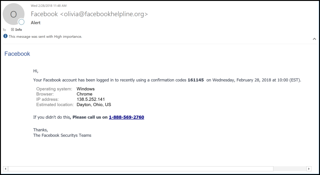 FB Phishing Email