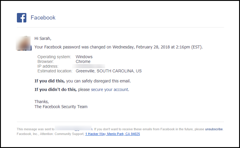 FB Security Email