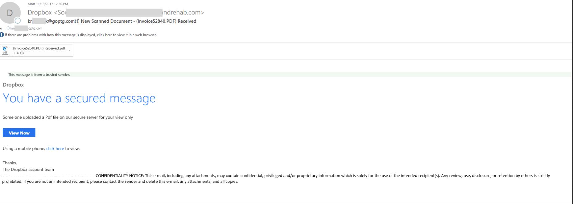 Dropbox Phishing Attempt