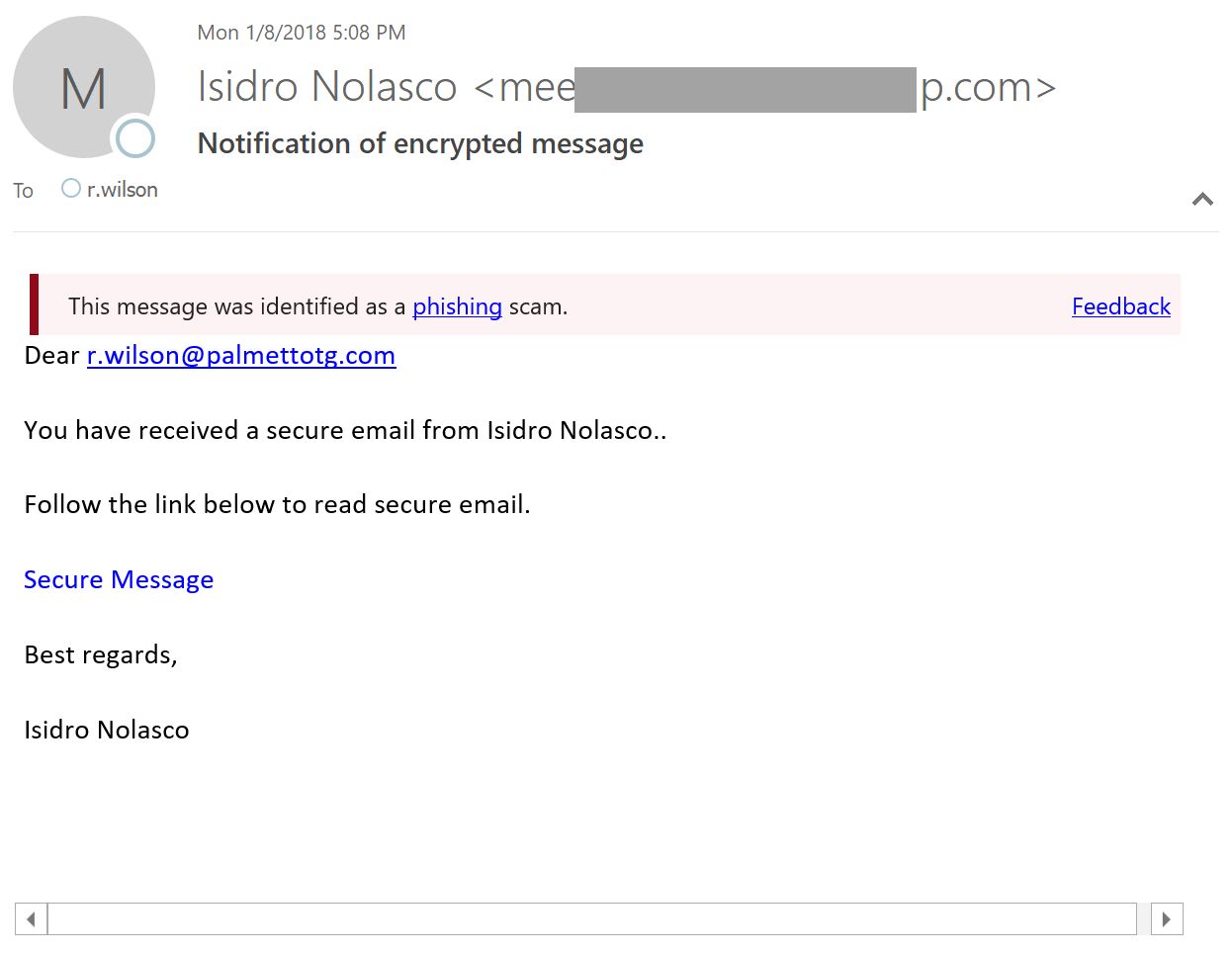 Encrypted Email Phishing
