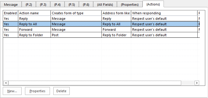 Actions Tab Reply All
