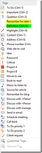 OneNote Tags