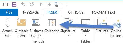 Calendar button on Insert Ribbon