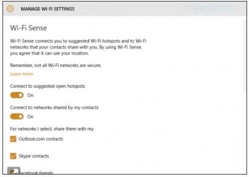 Windows 10 Wi Fi Sense