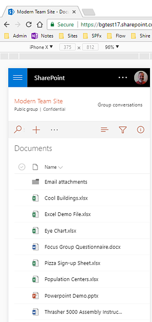 SharePoint document library mobile view (2)
