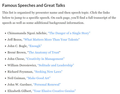 Famous Speeches and Great Talks